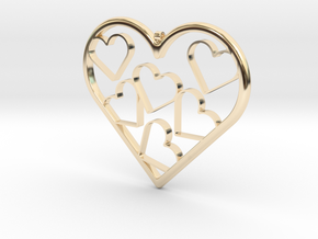 Hearts Necklace / Pendant-07 in 14K Yellow Gold