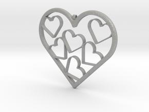 Hearts Necklace / Pendant-07 in Aluminum