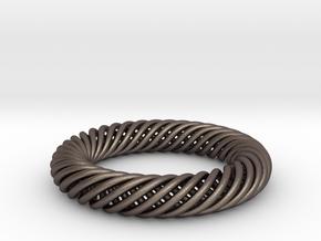 Torus Knot Bracelet 70mm inner diameter in Polished Bronzed-Silver Steel
