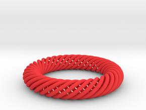 Torus Knot Bracelet 80mm inner diameter in Red Processed Versatile Plastic