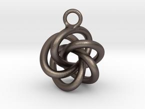 5-Knot Earring 20mm wide in Polished Bronzed-Silver Steel