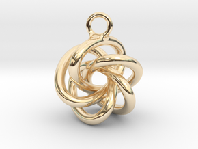 5-Knot Earring 20mm wide in 14k Gold Plated Brass