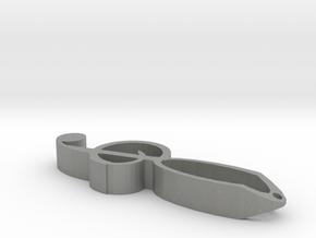 Fancy Treble Clef Keychain in Gray Professional Plastic