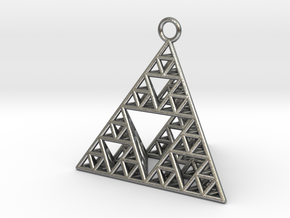 Sierpinski Tetrahedron earring with 32mm side in Natural Silver