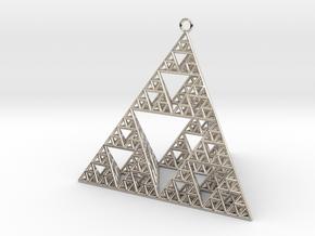 Sierpinski Tetrahedron earring with 64mm side in Platinum