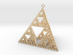 Sierpinski Tetrahedron earring with 64mm side in 14k Gold Plated Brass