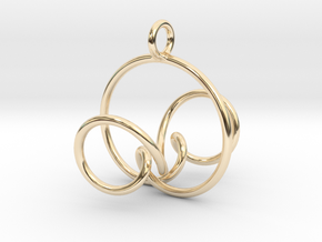 3D Spirograph projection erring 5 loops in 14k Gold Plated Brass