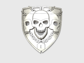 60x 3 Skull Shield : Shoulder Insignia pack in Smooth Fine Detail Plastic