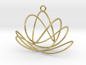 3D Spirograph projection erring 7 loops in Natural Brass