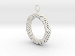 Torus Knot Earring 37 knots in White Natural Versatile Plastic