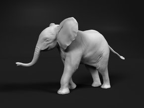 African Bush Elephant 1:20 Running Male Calf in White Natural Versatile Plastic