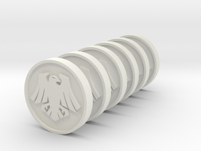 Space Crows Tokens 35mm roman numbers in White Natural Versatile Plastic