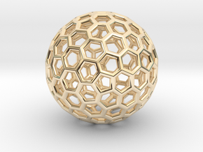 Fullerene-122 in 14k Gold Plated Brass: Extra Small