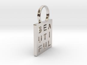 """Beautiful"" Pendant in Rhodium Plated Brass"