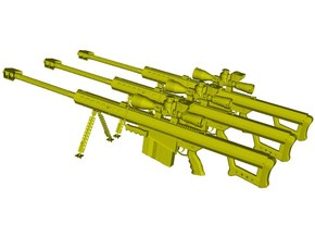 """1/24 scale Barret M-82A1 / M-107 0.50"""" rifles x 3 in Smooth Fine Detail Plastic"""