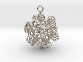 Dodecahedrons at vertex earrings in Platinum