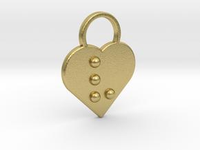 """v"" Braille Heart in Natural Brass"