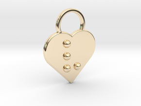 """""""v"""" Braille Heart in 14K Yellow Gold"""