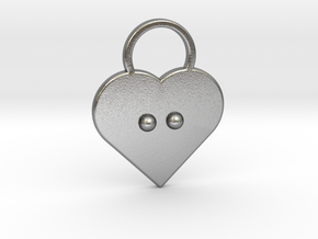 """""""c"""" Braille Heart in Natural Silver"""