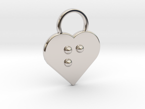 """f"" Braille Heart in Rhodium Plated Brass"