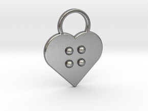 """g"" Braille Heart in Natural Silver"