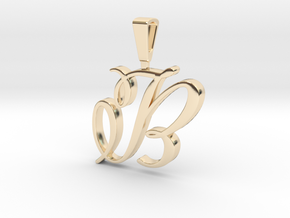 INITIAL PENDANT B in 14k Gold Plated Brass