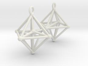 Hyperoctahedron Earrings in White Natural Versatile Plastic
