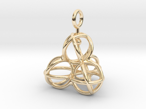 Tetrahedron Balls earring with interlock hook ring in 14K Yellow Gold