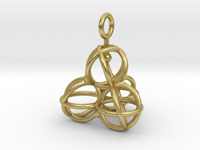 Tetrahedron Balls earring with interlock hook ring in Natural Brass (Interlocking Parts)