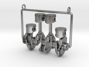 Inline 4 piston engine pendant in Natural Silver