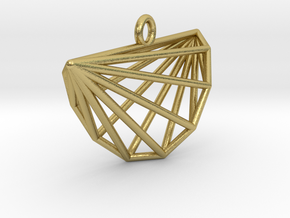 Intricate Cyclic Polytope Pendant in Natural Brass