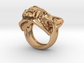 Cat Skull Ring in Polished Bronze: 8 / 56.75
