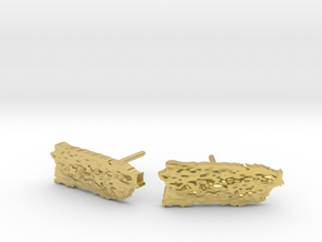 Puerto Rico stud earrings with topography. in Polished Brass