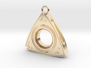 Mazda Rotary Engine Rotor Earring (thinner version in 14K Yellow Gold