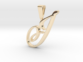 INITIAL PENDANT J in 14k Gold Plated Brass
