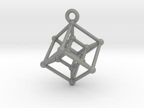 Hypercube Pendant in Gray Professional Plastic