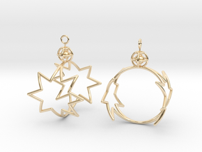 8-point star to circle earrings in 14K Yellow Gold