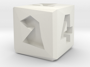 Low Poly Die in White Natural Versatile Plastic: Small