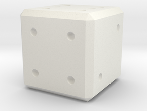 D6 Dice Pips 10mm edge length in White Natural Versatile Plastic