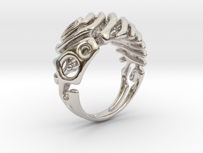 """Ring """"Wave"""" in Rhodium Plated Brass"""