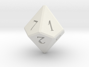 D10 Dice in White Natural Versatile Plastic