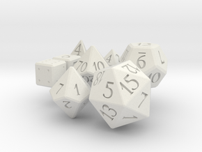 Full set of dice (d4,d6,d6,d8,d10,d00,d12,d20) in White Natural Versatile Plastic