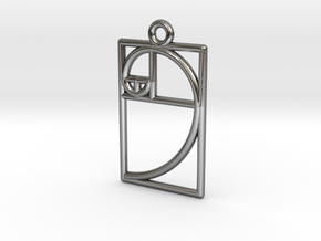 Golden Ratio Pendant in Polished Silver