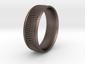 Bullet Belt Ring - multiple sizes available in Polished Bronzed-Silver Steel: 5 / 49