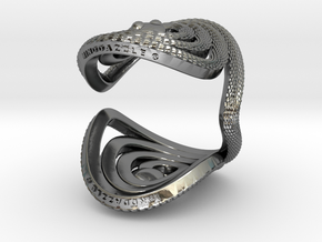 Serpentine Snake Ring: Triangle Pattern in Polished Silver