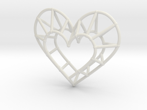 Minimalist Heart Pendant in White Natural Versatile Plastic