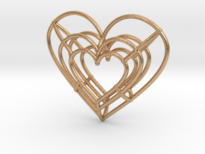 Small Wireframe Heart Pendant in Natural Bronze
