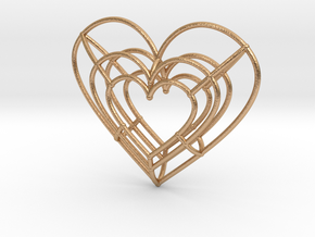 Medium Wireframe Heart Pendant in Natural Bronze
