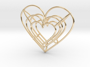 Medium Wireframe Heart Pendant in 14k Gold Plated Brass