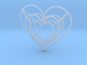 Large Wireframe Heart Pendant in Smooth Fine Detail Plastic